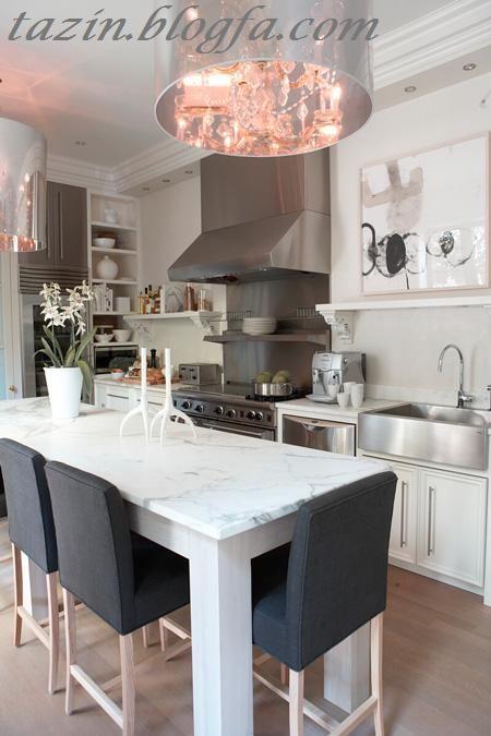 آشپزخانه خاکستریو سفید