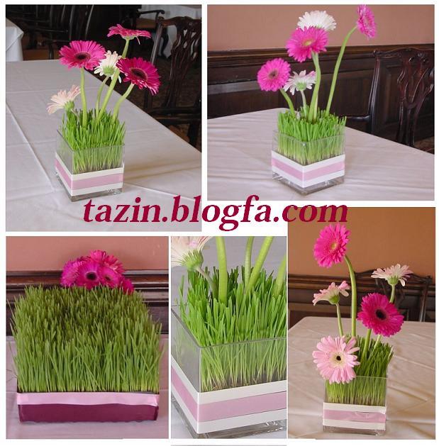 سبزه در گلدان شیشه ای